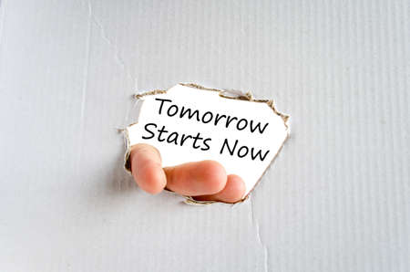 tomorrow: Tomorrow starts now text concept isolated over white background