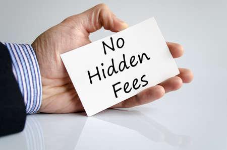 hidden taxes: No hidden fees text concept isolated over white background