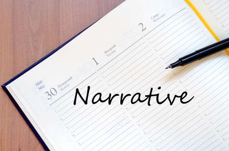 narrative: Narrative text concept write on notebook with pen Stock Photo