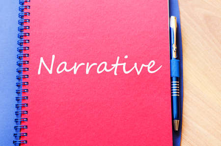 narrate: Narrative text concept write on notebook with pen Stock Photo