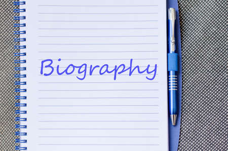 doctoral: Biography text concept write on notebook Stock Photo