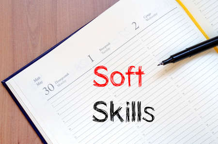 trustworthiness: Soft skills text concept write on notebook with pen
