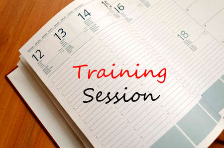 training session: Training session text concept write on notebook Stock Photo