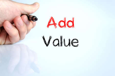 Add value text concept isolated over white background