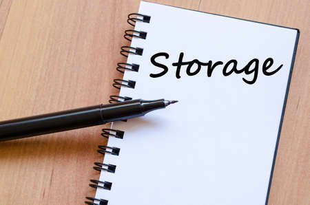 stockroom: Storage text concept write on notebook with pen