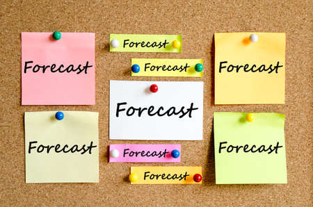 prognostication: Sticky Note On Cork Board Background And conceptual text Stock Photo