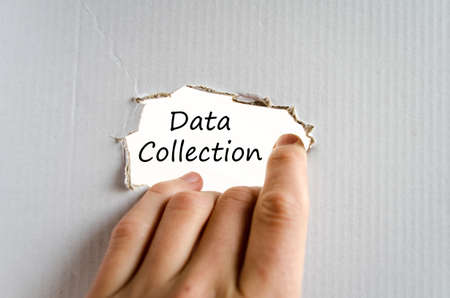 data collection: Business man hand writing data collection