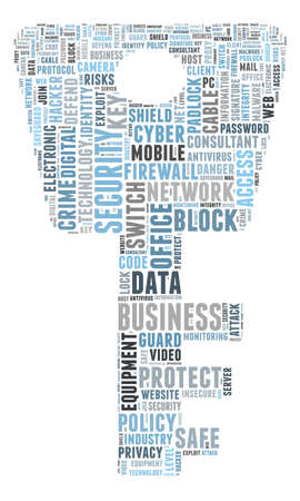Security word cloud illustration concept over key shape Stock Photo