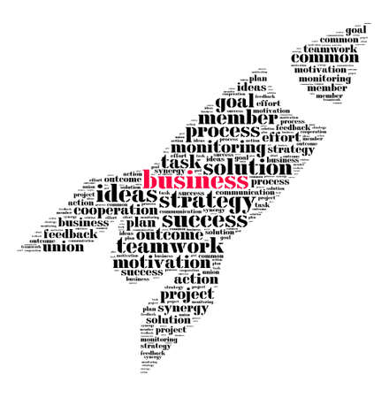 teaming: Word cloud business theme in rocket shape Stock Photo