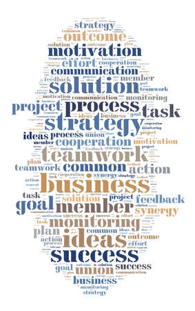 common goals: Word cloud business theme on white background