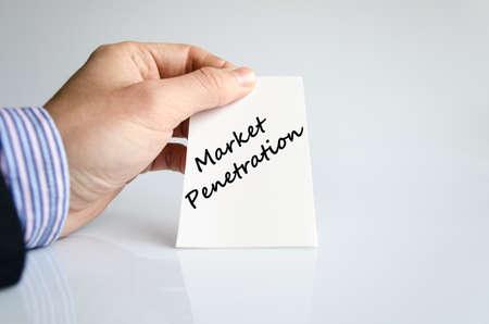 penetracion: Concepto de texto penetración en el mercado aislado sobre fondo blanco