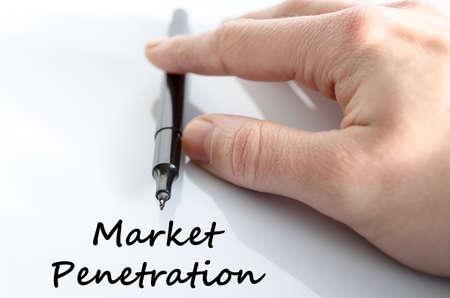 penetracion: Concepto de texto penetraci�n en el mercado aislado sobre fondo blanco