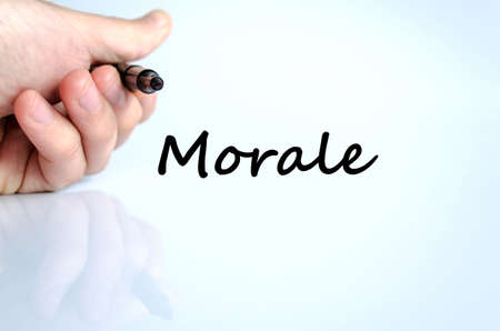 morale: Morale text concept isolated over white background