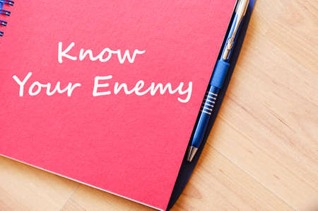 competitiveness: Know your enemy text concept write on notebook with pen