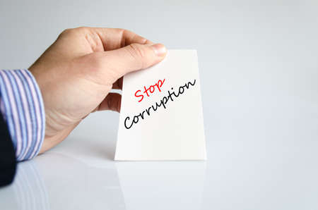 sinner: Stop corruption text concept isolated over white background Stock Photo
