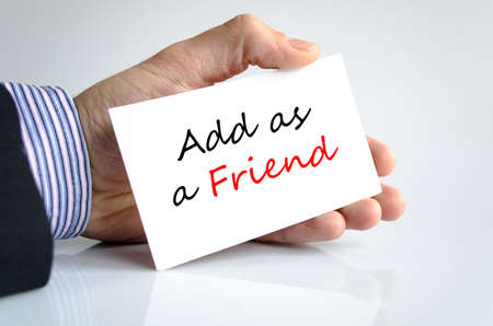 add as friend: Add as a friend text concept isolated over white background