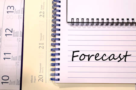 estimating: Forecast text concept write on notebook Stock Photo