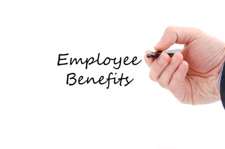 perks: Employee benefits text concept isolated over white background