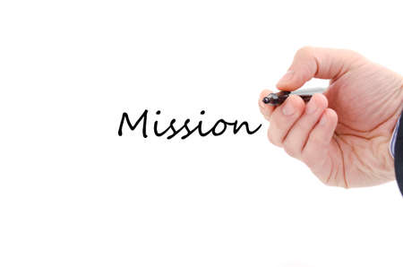 justification: Mission text concept isolated over white background