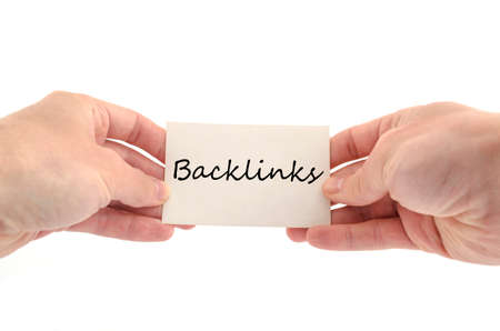linkbuilding: Backlinks text concept isolated over white background Stock Photo