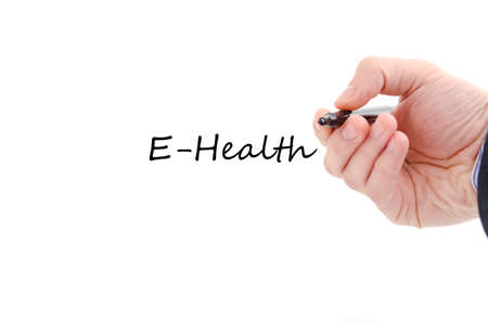 computer services: E-health text concept isolated over white background