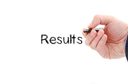 surpass: Results text concept isolated over white background Stock Photo