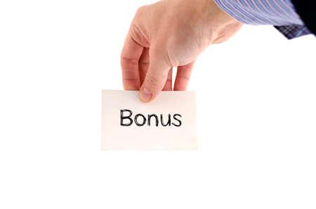 Bonus text concept isolated over white background Stock Photo
