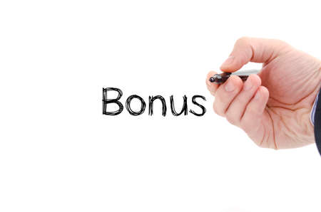 additional compensation: Bonus text concept isolated over white background Stock Photo