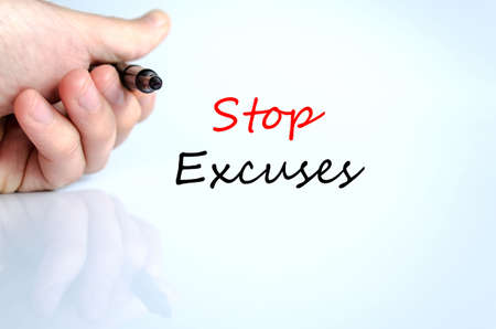 no mistake: Stop excuses text concept isolated over white background Stock Photo
