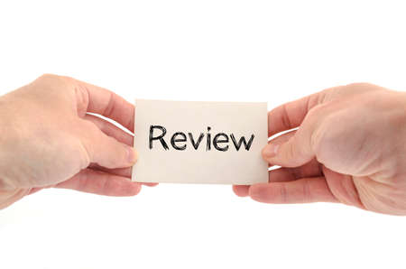 reassessment: Review text concept isolated over white background Stock Photo
