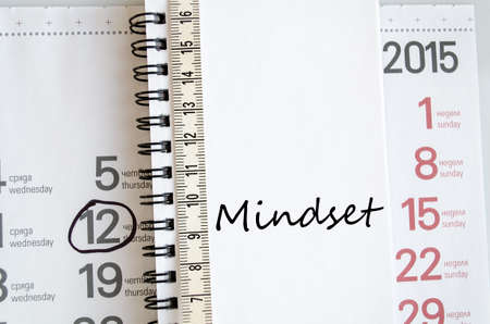 mindset: Mindset text concept over tape measure and calendar background