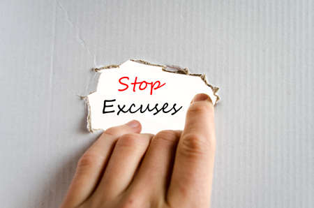 mitigating: Stop excuses text concept isolated over white background Stock Photo