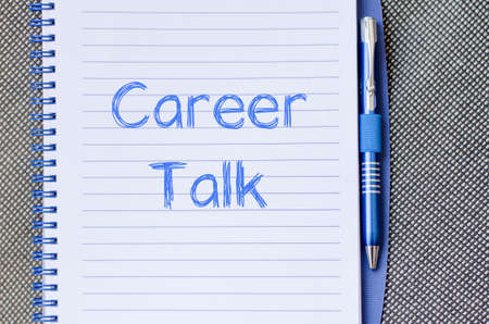 finding a job: Career talk text concept write on notebook Stock Photo