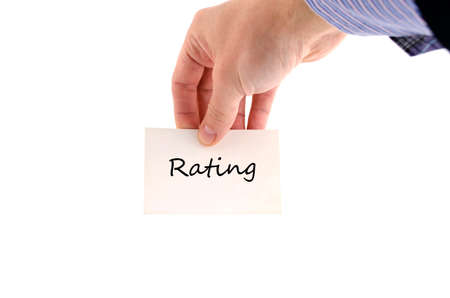 ratings: Ratings text concept isolated over white background