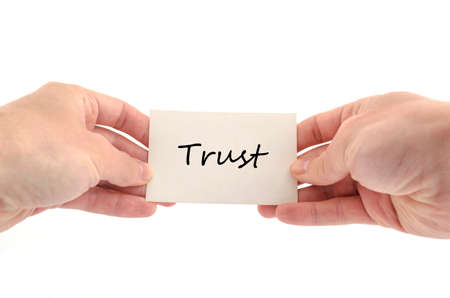 reputable: Trust text concept isolated over white background