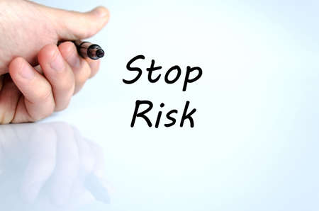 no mistake: Stop risk text concept isolated over white background