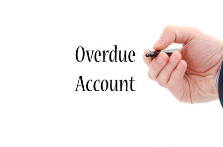 overdue: Overdue account text concept isolated over white background Stock Photo