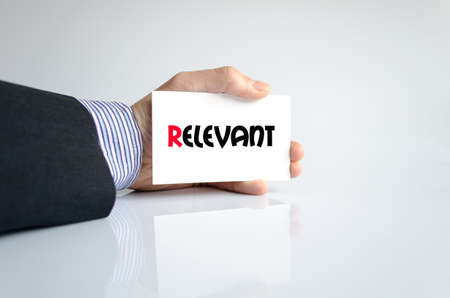 relevant: Relevant text concept isolated over white background