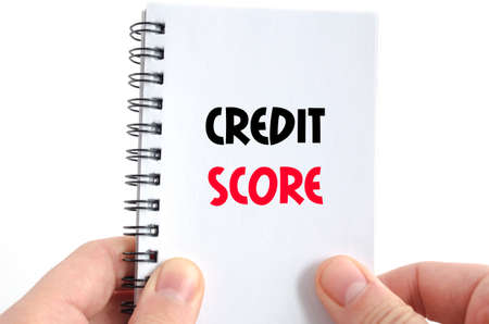 bank records: Credit score text concept isolated over white background