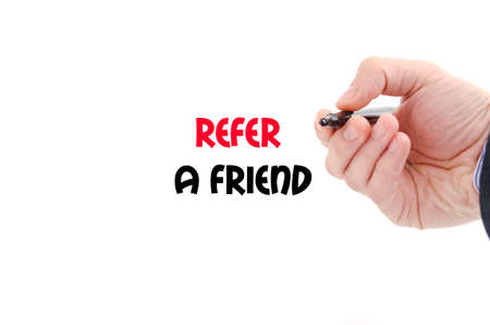 refer: Refer a friend text concept isolated over white background Stock Photo