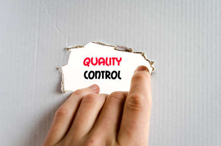 satisfactory: Quality control text concept isolated over white background