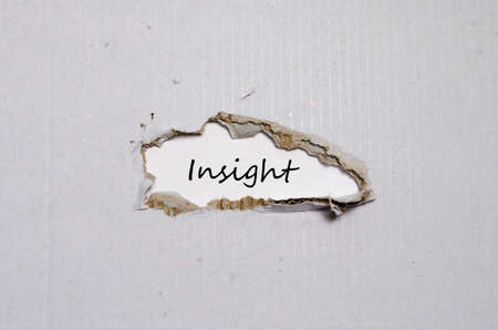 comprehension: The word insight appearing behind torn paper
