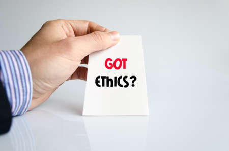 valores morales: Got ethics text concept isolated over white background Foto de archivo