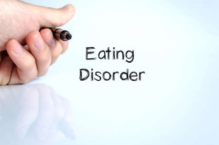 starvation: Eating disorder text concept isolated over white background Stock Photo