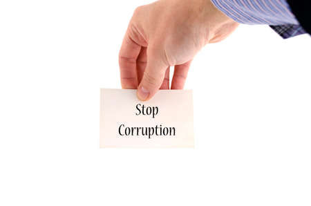 blackmail: Stop corruption text concept isolated over white background Stock Photo