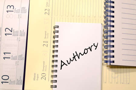 phrase novel: Authors text concept write on notebook