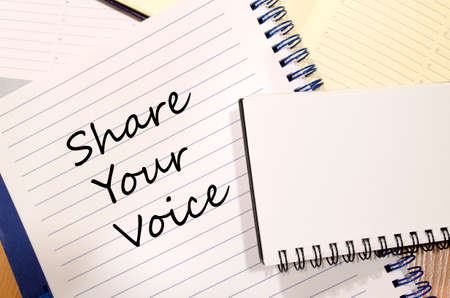 standpoint: Share your voice text concept write on notebook Stock Photo