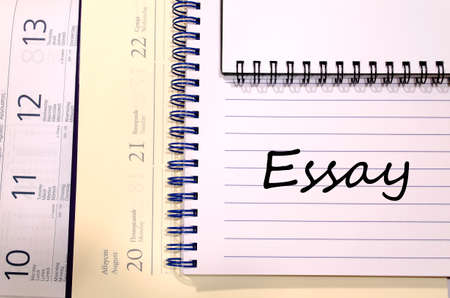 essay: Essay text concept write on notebook Stock Photo