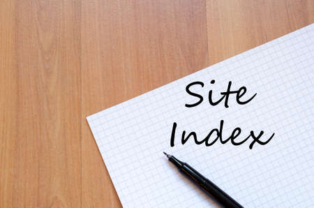 index: Site index text concept write on notebook