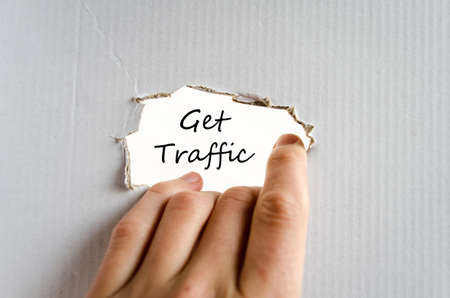 pageviews: Get traffic text concept isolated over white background